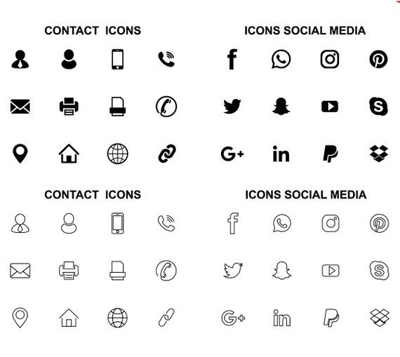 Contains Contact Icons And Social Media Graphic Resource Office Icons Icons Vectorized Icons