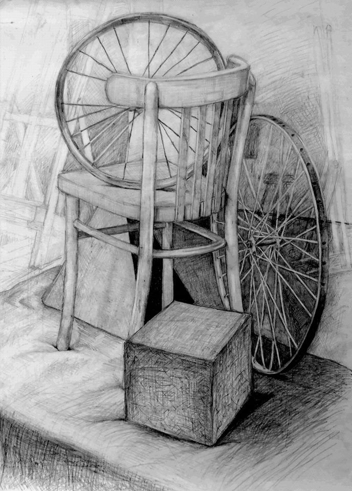 Still life with a chair and bicycle wheels by Natalia Bienek, pencil on paper