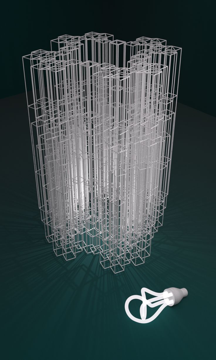 3D rendering of Thomas Faessler's 3D printed shade especially created for Plumen. http://www.studioluminaire.com/