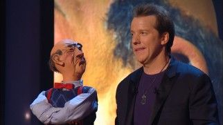 Cantankerous dummy Walter broaches the subject of divorce to the discomfort of Jeff Dunham. -- Jeff Dunham: Controlled Chaos Blu-ray Disc Review