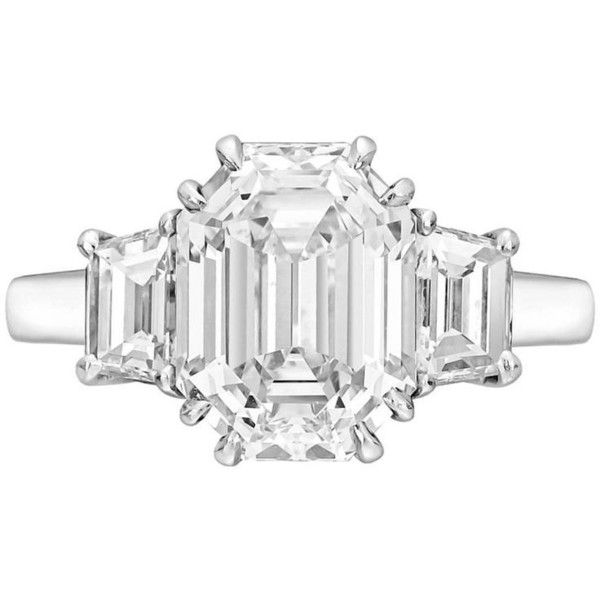 Preowned 5.33 Carat Emerald-cut Diamond Platinum Ring (4.860.720.115 IDR) ❤ liked on Polyvore featuring jewelry, rings, multiple, rectangle engagement rings, diamond engagement rings, preowned engagement rings, pre owned diamond rings and pre owned engagement rings
