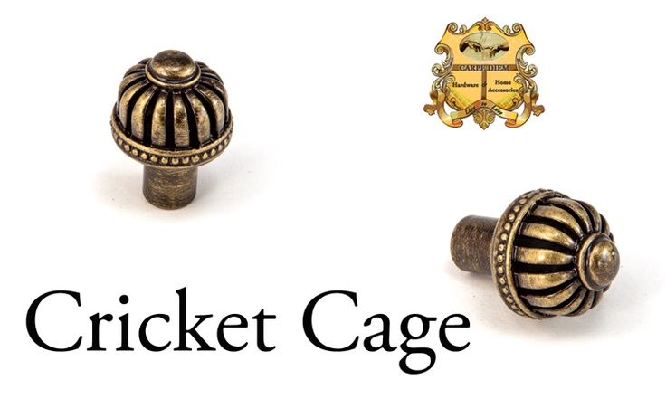 "Carpe Diem Hardware Cricket Cage style# 954 medium knob with an open basket design that allows light and air to flow in and out. The name was chosen to honor the Chinese who believe it is ""Good Luck"" to have a cricket in the house. We couldn't agree more. Shown in the Antique Brass finish."