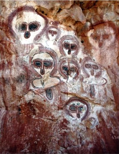 """Ancient cave paintings, which eerily resemble the supposed alien species,  known as """" The Greys"""". They also resemble harp seals, some type of primate, or possibly owls... you decide?"""