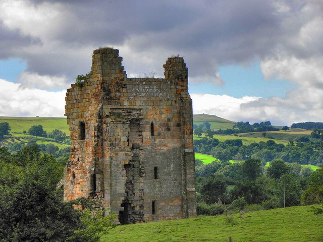 Ravensworth Castle formerly the home of the Fitzhugh family, was built  in the 14th century out of sandstone.Now in a ruinous state and on the English Heritage at risk list.