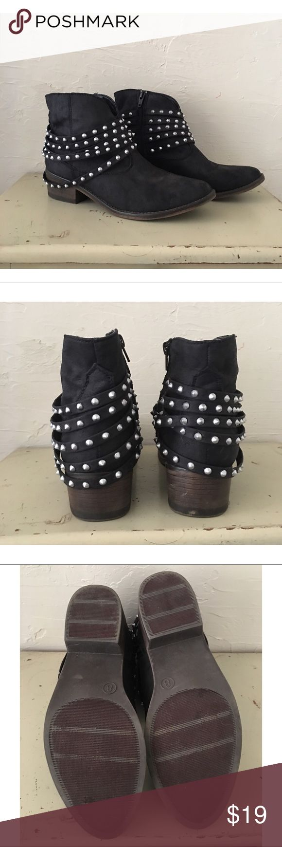 Mossimo Black Studded Ankle Boots Super cute black Ankle Boots. Stud detail, side zip. Only worn once, almost new condition as you can see from the picture of the bottoms. Please feel free to ask any questions. Mossimo Supply Co. Shoes Ankle Boots & Booties