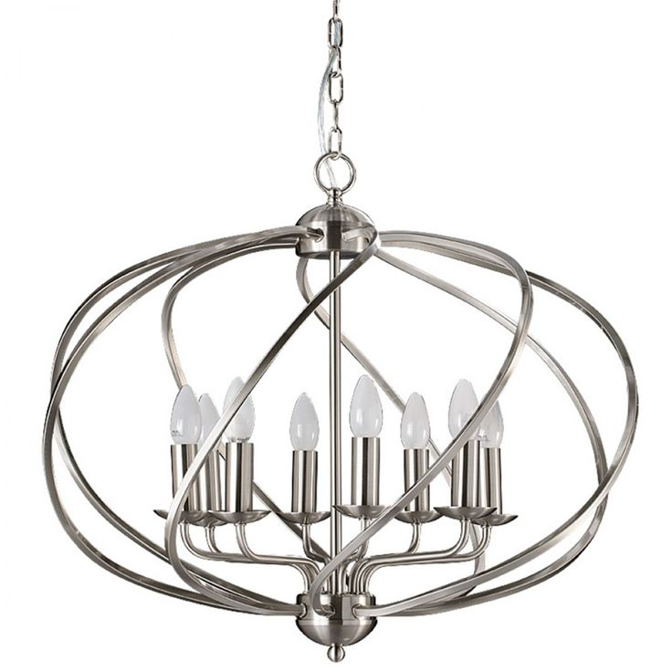 Zola 8 Light Chandelier Satin Nickel