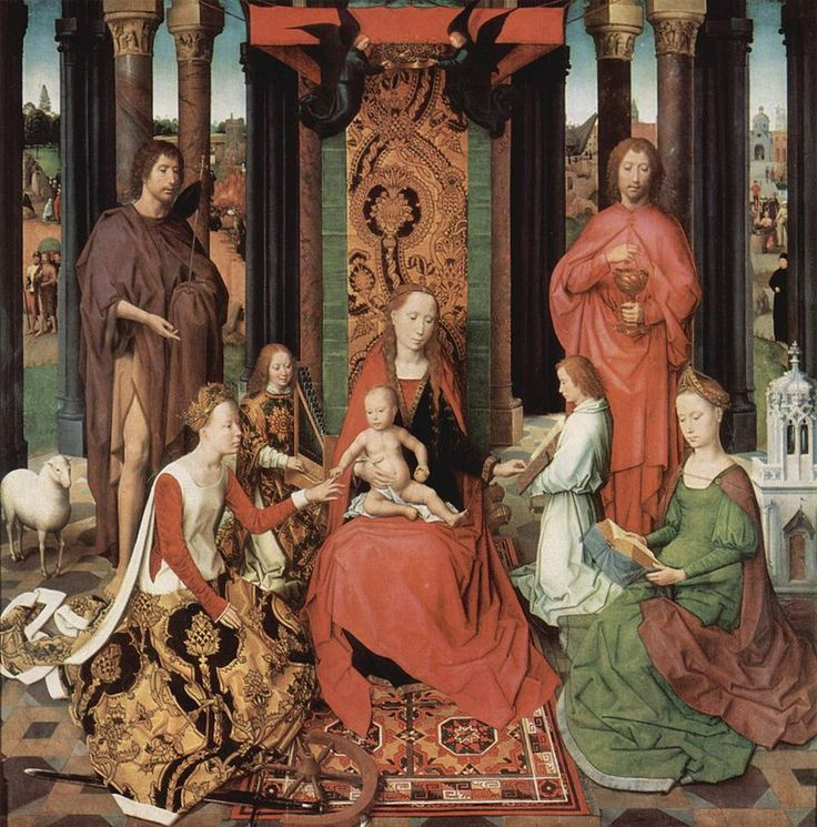 Hans Memling (1433-1494) - St John Altarpiece - The central panel, sometimes called The Mystic Marriage of St. Catherine, depicts the Virgin enthroned with Child.