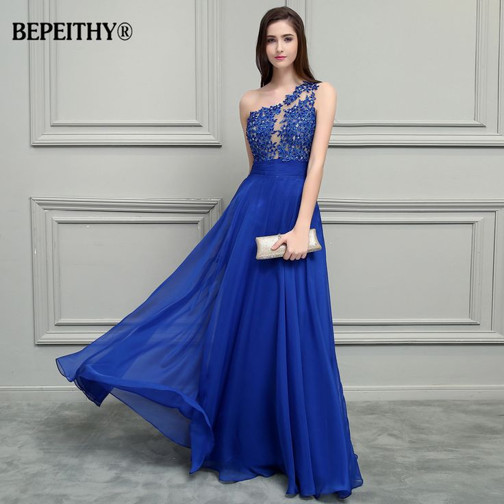 Chiffon Long Prom Dresses Lace Vintage Evening Dress KW