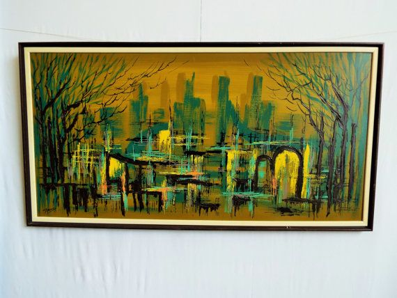 Large Mid Century Signed Framed Sofa Painting on Hardboard- Dark Goth Abstract Modernist City Scape