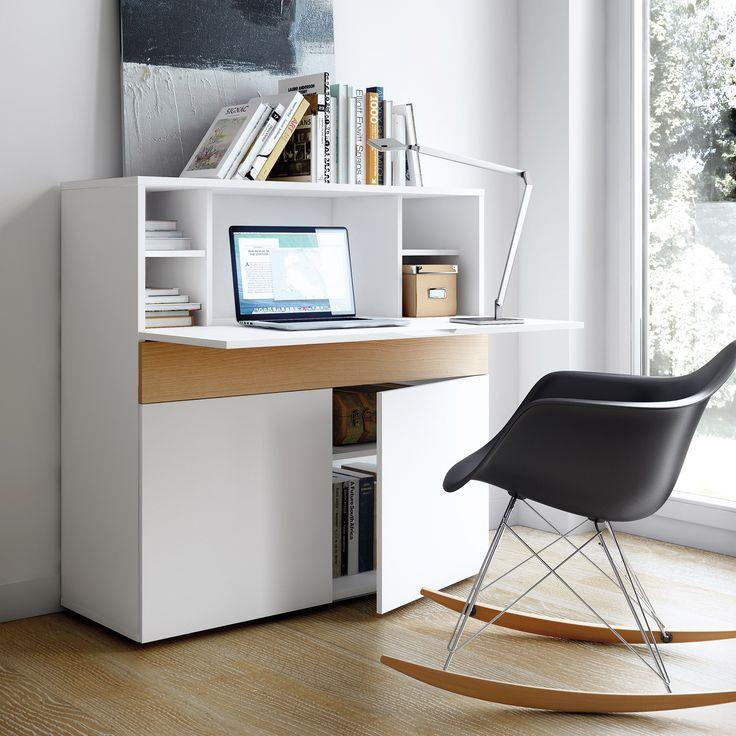 Bureau secrétaire en bois placage chêne et blanc mat FOCUS (Tema Home)