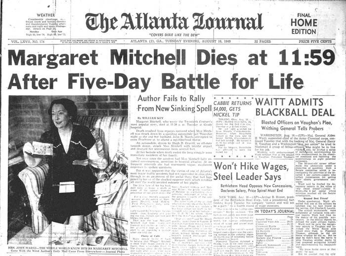 Atlanta newspaper announcing the death of Margaret Mitchell, author of Gone With the Wind. Browse and order prints from our collection.
