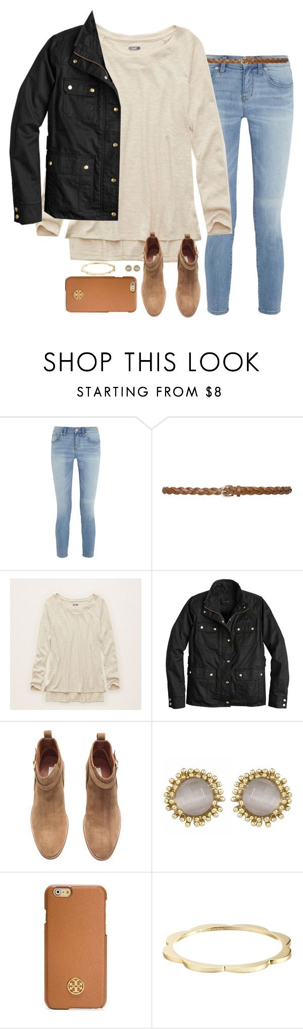 """its early"" by serenag123 ❤ liked on Polyvore featuring moda, Madewell, M&Co, Aerie, J.Crew, H&M, Kendra Scott, Tory Burch y Kate Spade"