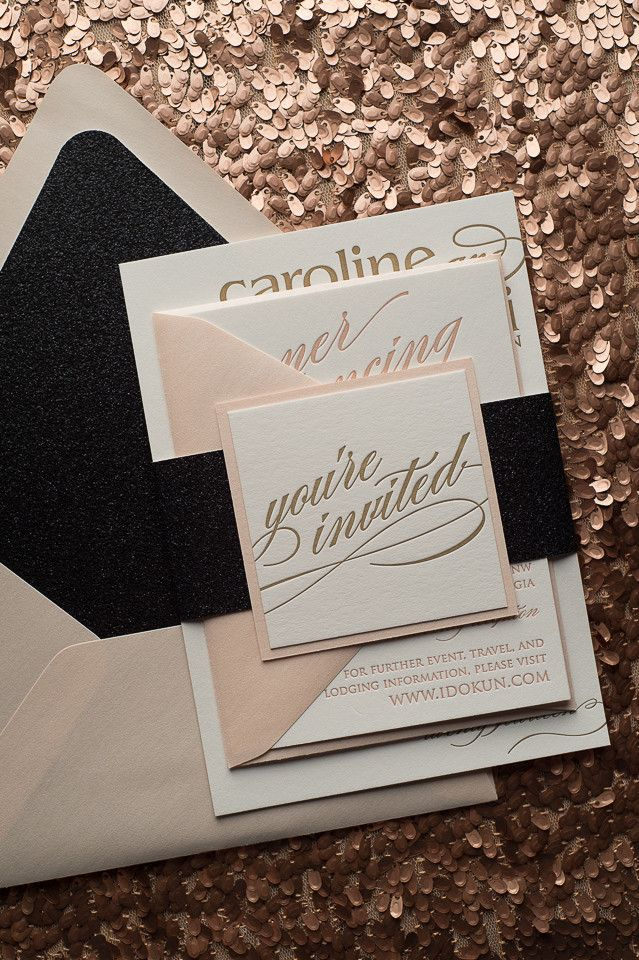 CYNTHIA Suite Glitter Package, black glitter, Black Friday Wedding Invitation Sale, letterpress wedding invitation, calligraphy wedding invitation, blush and black, blush and gold, http://justinviteme.com/collections/styled-collections/products/cynthia-suite-glitter-package?variant=468568537