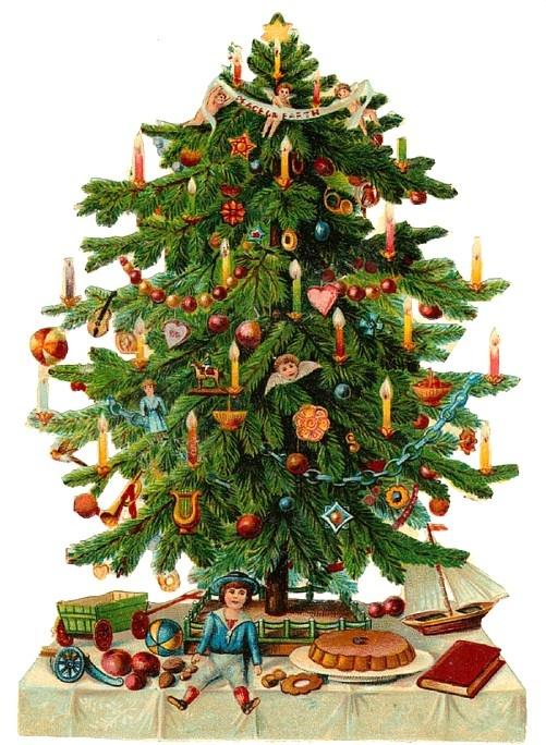 Victorian scrap Christmas tree