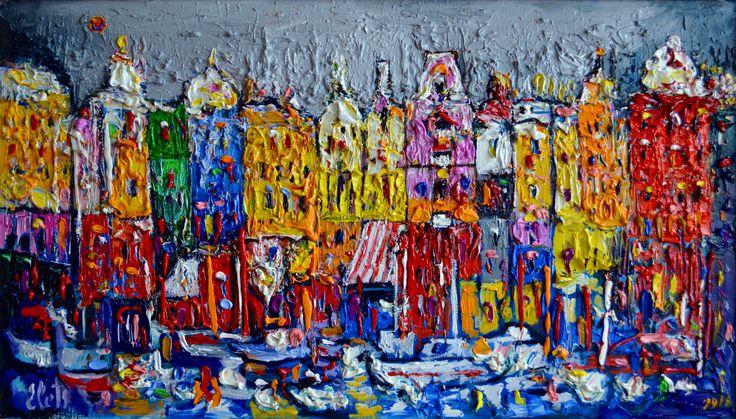 """Зимний Амстердам"", 2016, х.м. 50х90  77 т.р.   Яркий акцент в любом интерьере."