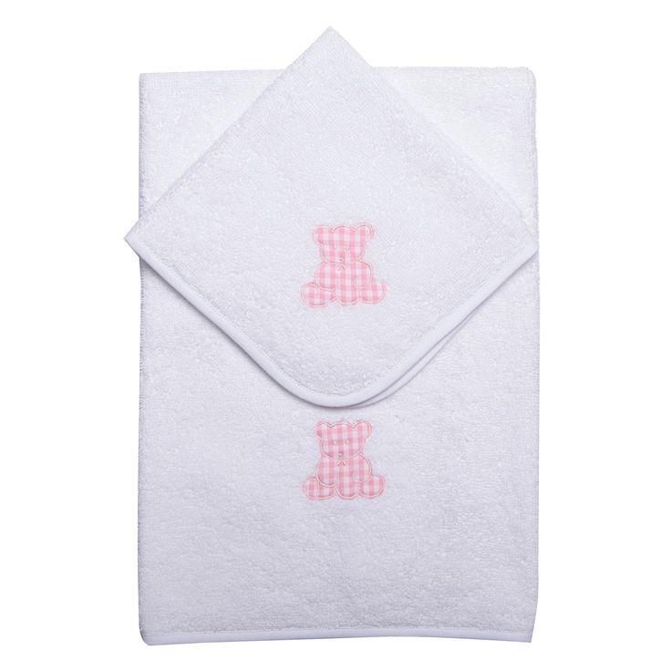 #Baroni #Madeinitaly #Firenze Coppia #asciugamano e #lavetta con orsetto in tessutto. Splendido regalo nascita e Natale www.mamibu.com