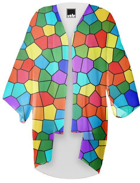 STAINED GLASS RAINBOW 2183 Kimono by khoncepts.com