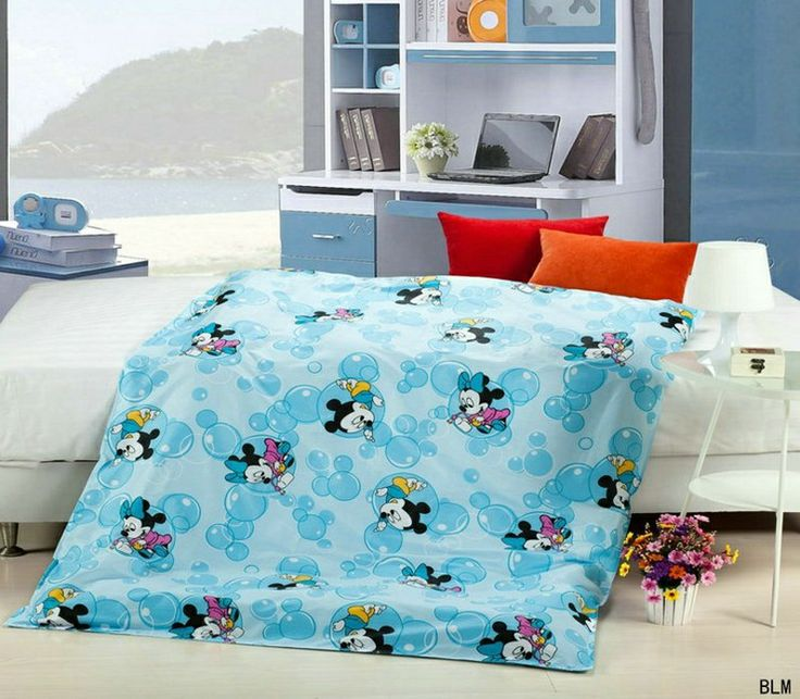 Mickey And Minnie Blue Cartoon Crib Comforter Set Baby