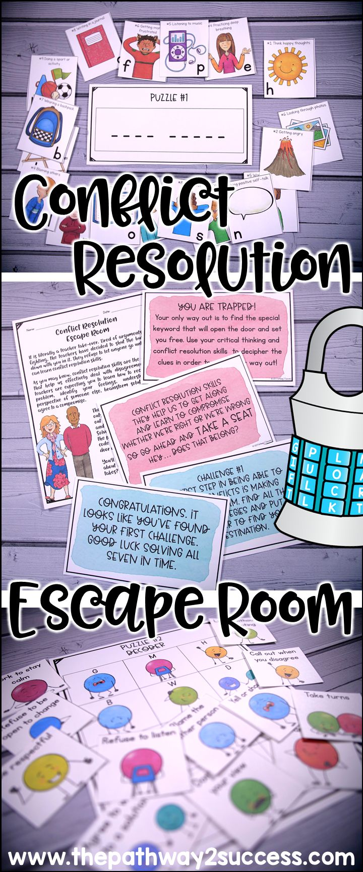 Use this scavenger hunt style escape room activity to teach and discuss conflict resolution with your students! Ideal for a small groups including counseling groups, advisory, resource rooms, and more. A whole class version is also included.