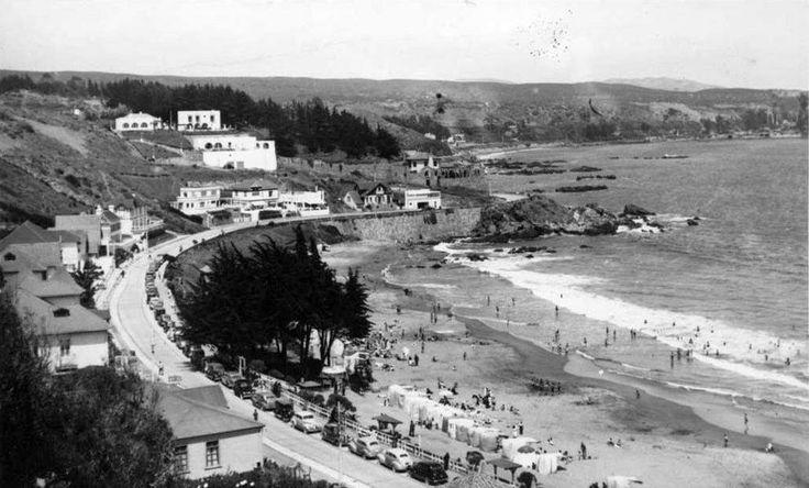 Playa Amarilla de Concón en 1940. Esta playa ubicada a un costado de la desembocadura del río Aconcagua ha vuelto a ganar protagonismo graci...