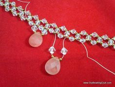 Crystal Coral Necklace - simple double needle Right Angle Weave with drops. #Seed #Bead #Tutorials