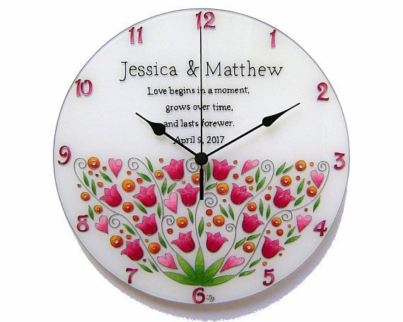 Wedding Gift Personalized Large Wall Clock, Anniversary Gifts, Floral, Silent, Hand-painted, Glass Wall Clock