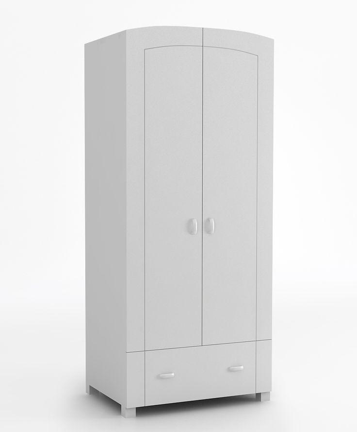 Szafa 90 o wymiarach: 1960x896x619. dwoje otwieranych drzwi na zawiasach BLUM z systemem cichego domyku, szuflada na prowadnicach BLUM z systemem BLUMOTION, zaokrąglone krawędzie frontów, po otwarciu drzwi szafa podzielona jest na 3 części: półka od góry, miejsce na ubrania wiszące i kilka półeczek.