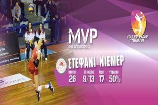 Η Stefanie Niemer MVP της 8ης αγωνιστικής. 26 πόντοι. 9/13 επιθέσεις. 17 άσσοι. 50% υποδοχή.