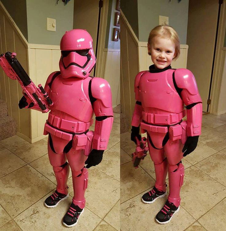 Father Converts a 48″ First Order Stormtrooper Toy Into Pink Costume for His Little Daughter