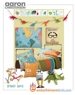 geek chic, science boys room decor mood board