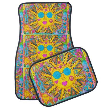 Groovy Hippie Sun Car Mats Car Mat Floor Mats