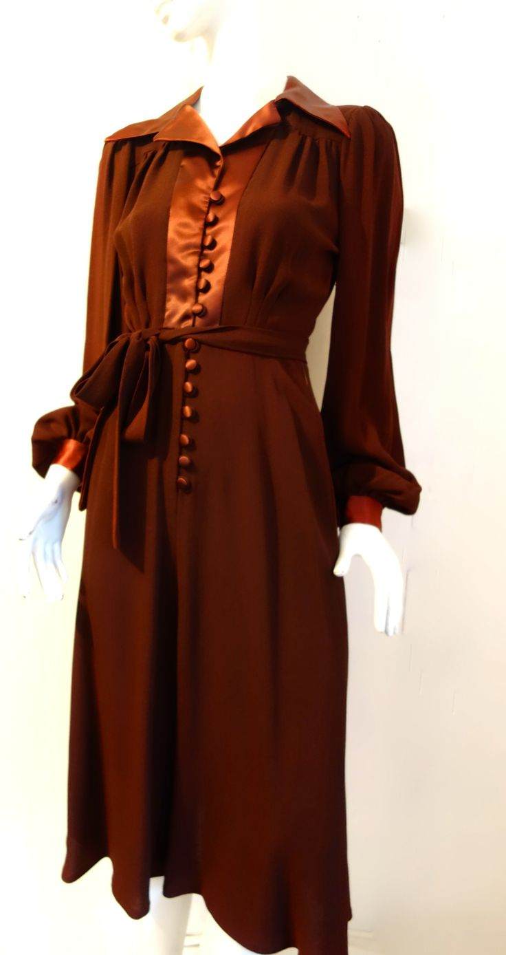 homage to the 1930s vintage 1970s ossie clark 'chocolate' dress