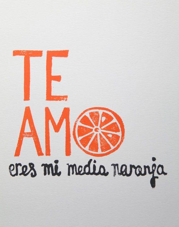 'TE AMO eres mi media naranja // I LOVE YOU you're my other half [original lincocut print]