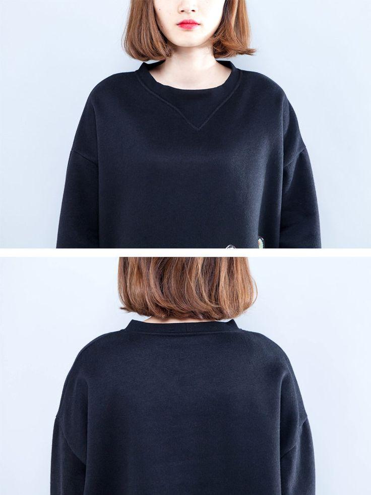 Casual Women Zipper Cat Printed Thick Sweatshirts