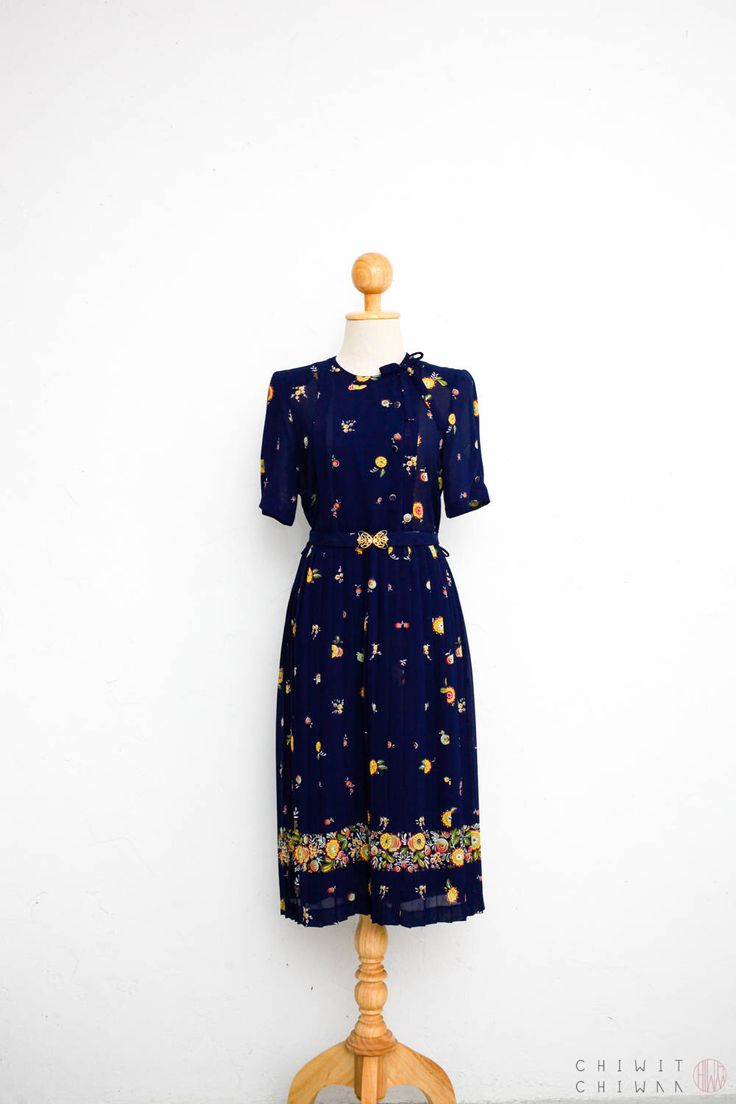 Excited to share the latest addition to my #etsy shop: 70s Vintage Dress | Japanese Vintage Dress | Sheer Chiffon Dress | Pleated Skirt | Pussy Bow Tie Dress | Romantic Floral Print | Navy Blue S