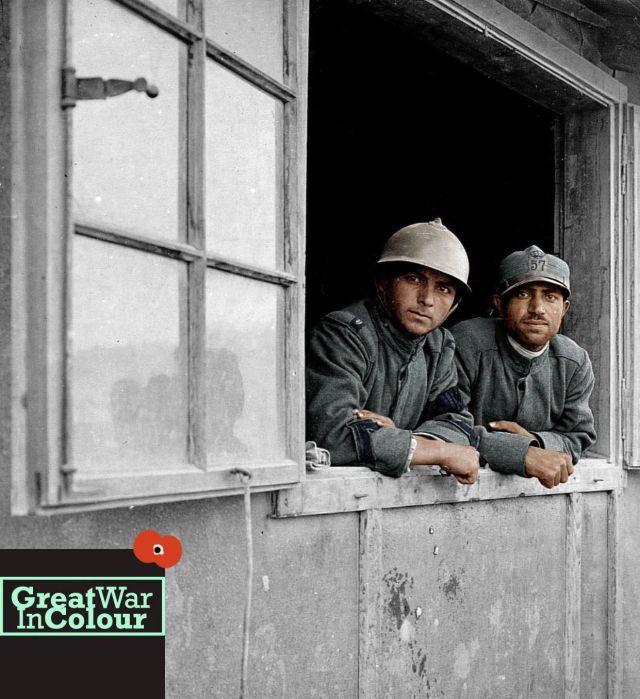 A portrait of two Italian prisoners of war captured by the Austrian army, in Dornberk, Slovenia, 1916.