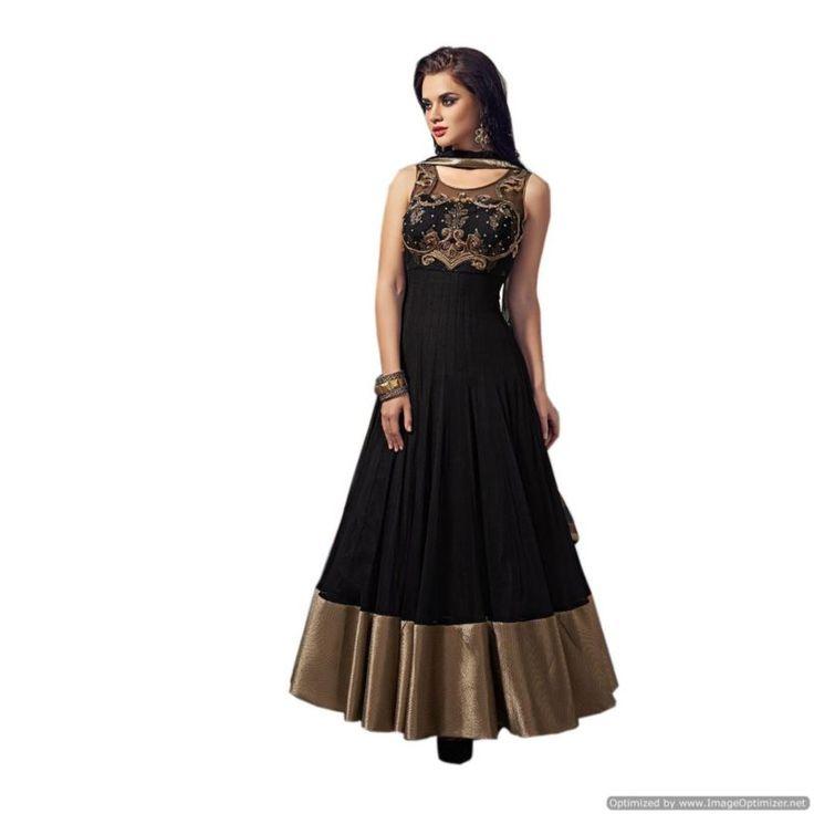 Piramalls Black Designer Floor Length Anarkali Suit