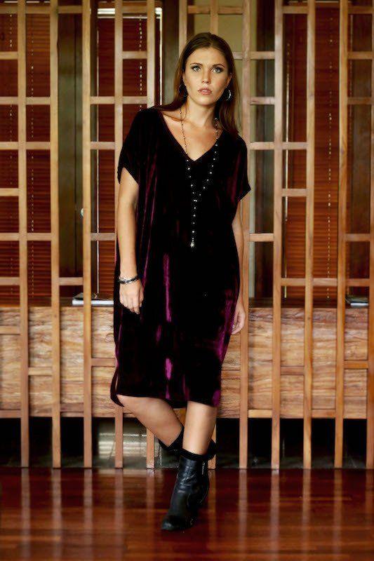 Nicky Dress - Plum Velour