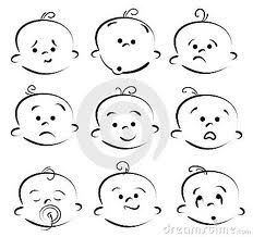 how to draw a cartoon baby face -