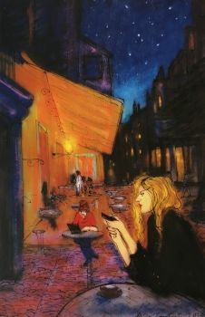 Woman with cellphone on Van Gogh's Cafe Terrace by Peter Lambert