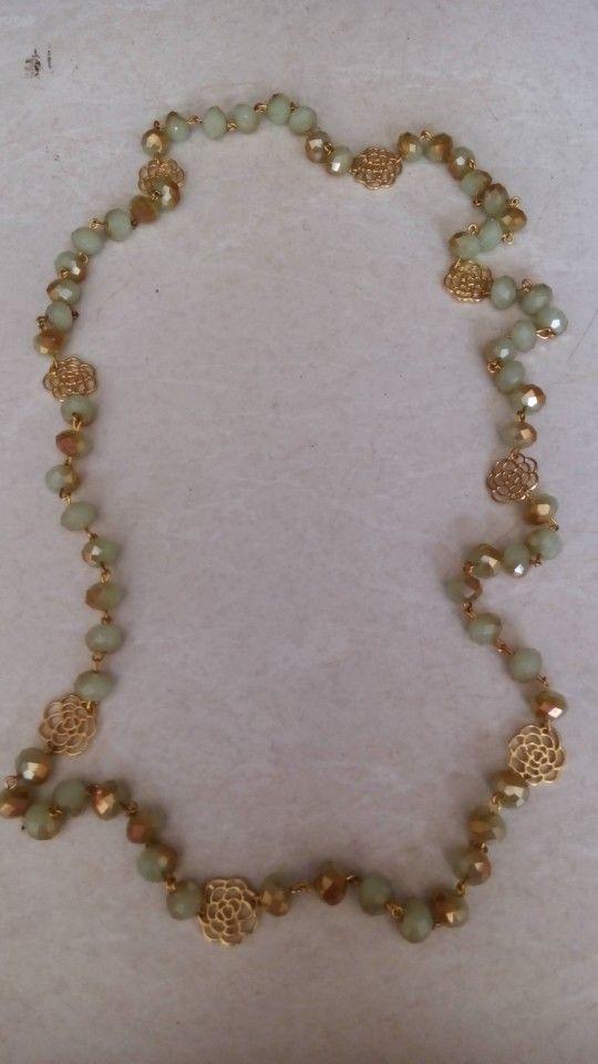 Handmade long necklace with crystals designed by Elli lyraraki