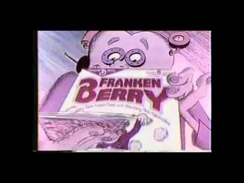 """Frankenberry Cereal Commercial 1986- You can buy this pink marshmallowy cereal around Halloween or online at retro candy shops. """"Frankenberry cereal is comin your way...how bout a monster for breakfast today?""""  Enjoy, and feel free to drop by my MagickalGoodies etsy shop for more fun stuff!"""