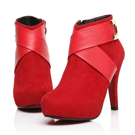 Shiny Red Stiletto Heel Ankle Length Bride Boots