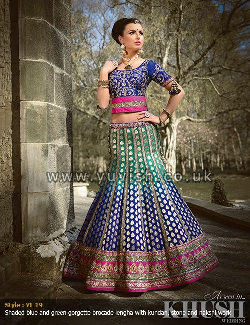 traditional-wear#rajasthanilengha#ombrelengha#bluegreenlengha#brocadelengha#