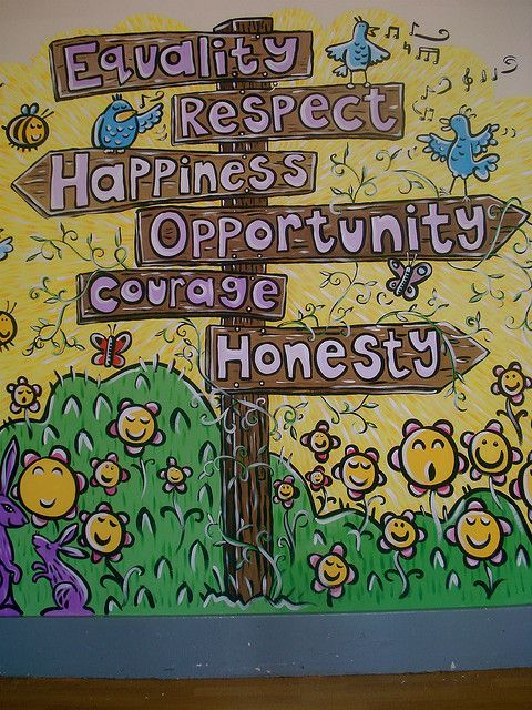 Mural Commission - School Hall - Restorative Practices theme with key words... by AliceBeasley, via Flickr