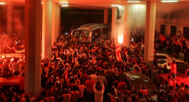 The warm welcome to Olympiakos BC the European Champion 2012-13,3rd time in their history, by 3500 fans at the Stadium of Peace and Friendship where they submitted the title for the museum!!When the day and night become red!!Olympiakos!!!Olympiakos!!!