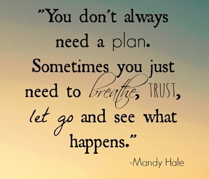 You don't always need a plan. Breathe, take a leap of faith and let go. #breathe #courage