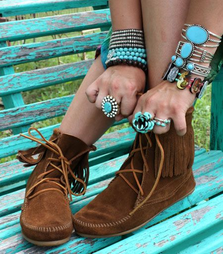 moccasins and turquoise jewelry a must