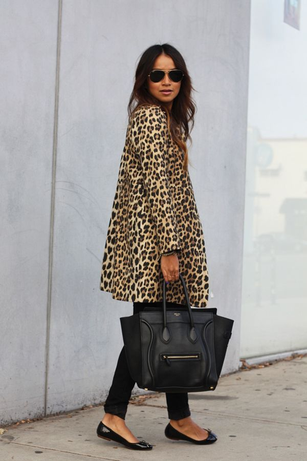 Cool leopard print coat with celine bag fall winter inspiration