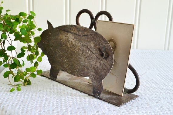 Christmas pig card stand, vintage Swedish napkin holder, rustic metal home decor